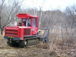 Brush-cutting machine renewing New England cottontail habitat