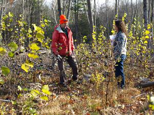 Doug Bruce and Marianne Piche check out new aspen growing on BNRC habitat project.